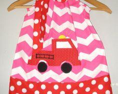 Fire truck dress chevron fire truck dress by ladyoutofcarolina