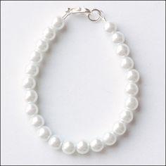 Classic White Glass Pearl Bracelet for Child Girl Baby by cfingram, $5.00