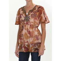 Sienna Rose Beaded Georgette Tunic Shirt - Short Sleeve (For Women) in Paisley Print