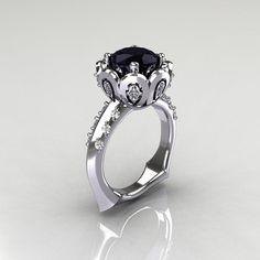 Clásico 10K oro blanco 30 quilates diamante negro por artmasters