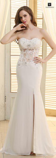 Amazing chiffon sweetheart neckline See-through slit mermaid wedding dresses(WWD59430)