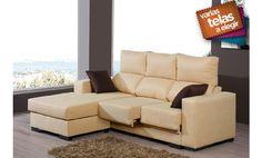 Sofá dos plazas con asientos deslizantes y chaise longue reversible. Varios colores a elegir.