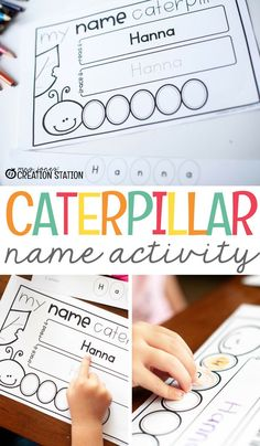 This caterpillar name activity is a great way to practice letter recognition, cutting, tracing, more! Come grab the free editable printable and get started with a fun name learning activity for your preschooler. - Education and lifestyle Name Writing Activities, Name Activities Preschool, Kindergarten Names, Name Writing Practice, Preschool Printables, Preschool Learning, Preschool Activities, Preschool Assessment, Preschool Writing