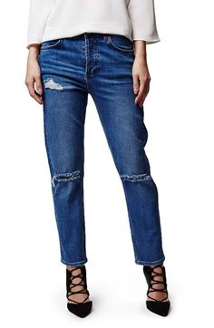 Topshop Moto Ripped Girlfriend Jeans available at #Nordstrom