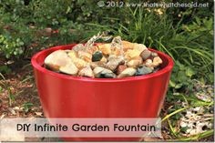 Infinite Water Garden Fountain http://www.thatswhatchesaid.net/2012/diy-garden-fountain/ Perfect for people who want a water Fountain without spending hundreds of dollars here is a great tutorial to show you how you can do it yourself!!!