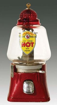 Silver King, Peanut, Cylinder Globe, Ruby TopA Silver King Standard Hot Peanut vendor with original ruby glass top & decal