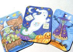 Halloween Tags  Set of 9  Cute Halloween  Witch Tags  by SiriusFun
