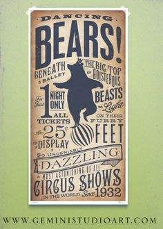 Circus Dancing Bear vintage style childrens graphic artwork giclee archival signed artists print 10 x 20 by stephen fowler. $29.00, via Etsy.
