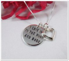 I Love You to the Moon and Back Necklace  with Heart Charm-  Hand Stamped Sterling Silver. by Charitable Creations.
