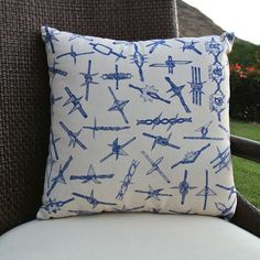 COTTON THROW PILLOW WITH BARBED WIRE PRINT DESIGN. | GOLD-N-RULE: Quality Housewares. We make your house a home. #MadeinUSA via BuyDirectUSA.com