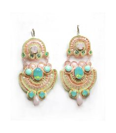 deco bridal soutache earrings with Swarovski elements in rose water opal and pacific opal