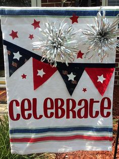 4th of July garden flag from a placemat...