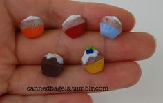 Some cupcake studs by cannedbagels.tumblr.com, aka moi.