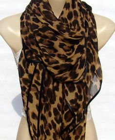 Fashion classic Brown Leopard Print Scarf, large size chiffon scarf, scarf, Shawl Black edging, square scarf