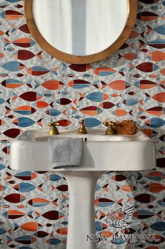 Floating Fish, a waterjet glass mosaic shown in Mica, Sardonyx, Garnet, Pearl, and Quartz, is part of the Erin Adams Collection for New Ravenna Mosaics.<br /> Take the next step: prices, samples and design help, http://www.newravenna.com/showrooms/