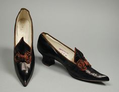 1905, America - Pair of Woman's Ostend Pumps by John J. Fontius - Kid leather, silk satin, sueded leather