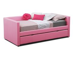 Perfect Match. Mixing sleepover fun with fashionable colors, the Carey Pink daybed collection is a match made in heaven for any kid. The pull-out trundle provides sleeping space for optimum convenience, and the low arms and back make for a clean, stylish look. The sleek, durable faux leather with designer accent stitching is comfortable and hip at the same time.