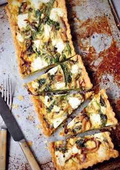 spinach + feta tart make into a shallow quiche I Love Food, Good Food, Yummy Food, Real Food Recipes, Vegetarian Recipes, Cooking Recipes, Quiches, Enjoy Your Meal, Spinach And Feta