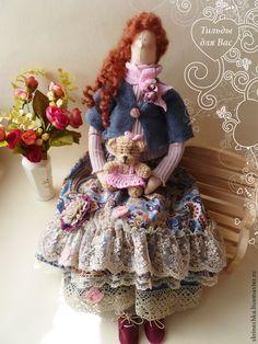 Купить Кукла Тильда: Елизавета и teddy Машуня - синий, тильда, тильда кукла, тильды ♡