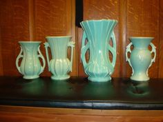 McCoy Pottery in shades of green