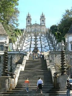 Bom Jesus, Braga, Portugal: no I didn't climb up all those steps when I went there! Took the little railway car up there instead :) Douro Portugal, Braga Portugal, Spain And Portugal, Places In Portugal, Visit Portugal, Portugal Travel, Places To Travel, Places To See, Travel Around The World