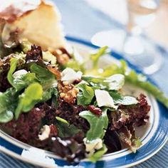 Mixed Greens with Goat Cheese, Cranberries, and Walnuts | MyRecipes.com