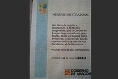 La corona de Aragón felicita al Barça por el triunfo liguero