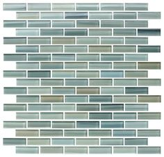 Reflections hand painted glass mosaic subway tile in blues, greens, ocher and a hint of black.