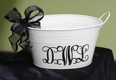 black and cream galvanized pail/personalized. $16.00, via Etsy.