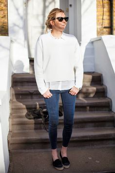 White sweatshirt, classic skinny jeans and canvas slip ons - Camille Over the Rainbow