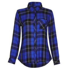 RAILS Hunter Cobalt Tartan Shirt ($170) ❤ liked on Polyvore featuring tops, cobalttartan, tartan plaid shirt, rails shirts, drapey shirt, drape top and tailored fit shirts