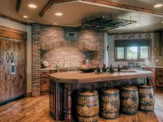 Barrel stool stools brick built in oven kitchen I LOVE the barrels!!!! I think I've found my dream kitchen!!!: