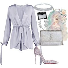 A fashion look from April 2017 by dreamer3108 featuring Boohoo, Christian Louboutin, Yves Saint Laurent, Carolee, NARS Cosmetics, Silver, YSL, classy, grey and...