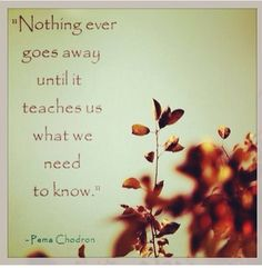 Nothing ever goes away until it teaches you what you need to know. So true