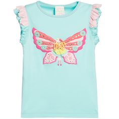 Girls turquoise t-shirt by Lemon Loves Lime, made with soft cotton jersey. The short sleeves are made with pink and turquoise ruffles. It has a pretty butterfly fairy appliqué, featuring diamanté and embroidered details, wool hair and a tulle skirt.  Model: Height 114cm (average 6 years) Size of top shown in the photo: 5 years