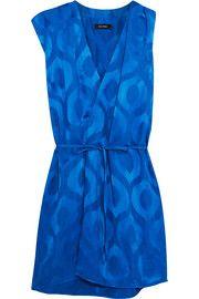Sudley satin-jacquard wrap-effect dress