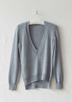 Porcelain V-Neck Sweater Knitting Pattern. This pullover uses Erika Knight Studio Linen Yarn