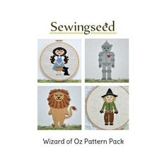 The Wonderful Wizard of Oz Cross Stitch Pattern Collection, Dorothy, Scarecrow, Lion, Tin Man, INSTANT DOWNLOAD. via Etsy.