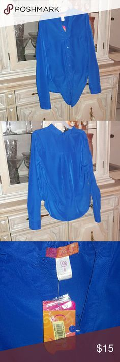 Royal blue button down blouse Button down blouse. New with Tags. The front can be tied or tucked in. Long sleeved. Tops Button Down Shirts