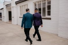 Beau + Anton's inner city wedding at The Wharf in Auckand. Wearing custom WORLD. Grooms, Wedding Styles, Winter Jackets, Normcore, City, How To Wear, Fashion, Winter Coats, Moda