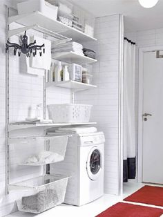 Organized Laundry Room Decor Ideas to Steal from IKEA Laundry Cabinets, Laundry Room Shelves, Ikea Shelves, Laundry Storage, Laundry Room Organization, Bathroom Shelves, White Shelves, Storage Shelves, Wall Shelves