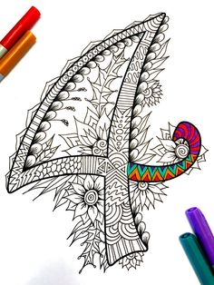 8.5x11 PDF coloring page of the number 4 - inspired by the font Harrington Fun for all ages. Relieve stress, or just relax and have fun using your favorite colored pencils, pens, watercolors, paint, pastels, or crayons. Print on card-stock paper or other thick paper (recommended).