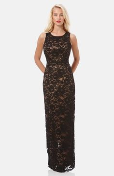 Free shipping and returns on Laundry by Shelli Segal Open Back Lace Gown at  Nordstrom. 25893162f