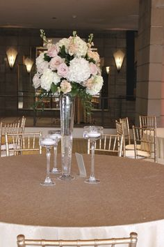 Elevated centerpieces with hanging crystal