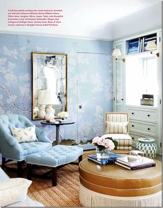 Mark Sikes's bedroom- another view blue tufted chair and ottoman chinoisserie Chinoiserie Elegante, Beautiful Interiors, Beautiful Homes, Simply Beautiful, Chinoiserie Wallpaper, Ivy House, Living Spaces, Living Room, Interior Decorating