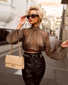 Micah Gianneli Sunday glam ✨ Shades by // Outfit by Paris Chic, Classy Outfits, Cute Outfits, Classy Casual, Mode Abaya, Fashion Outfits, Womens Fashion, Fashion Trends, Fashion Shirts