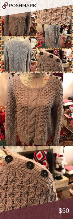 Like New American Eagle Crew Neck Sweater Like new American Eagle long sleeve Crew Neck Sweater.  Button detail on both shoulders.  Cotton, acrylics and wool.  Size medium.  Latte color.  No trades.  Will price drop. American Eagle Outfitters Sweaters Crew & Scoop Necks