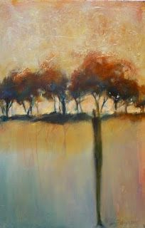 "Abstract Landscape Painting,Trees, Gold Leaf ""Standing With Family"" by Intuitive Artist Joan Fullerton"