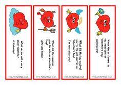 Valentine Bookmarks - Red Hearts Jokes