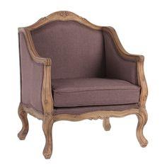 Sillón 72x60x91cm tapizado en tela marrón. Estructura en madera de abedul color natural.